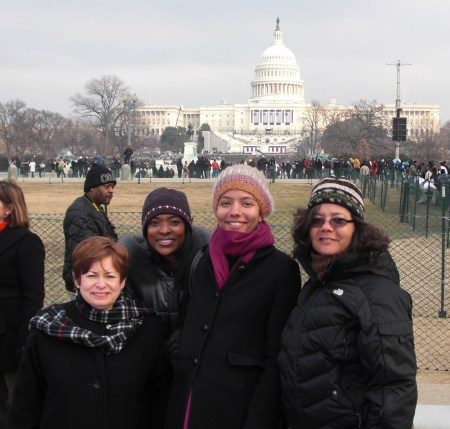 Maxine, Gail, Alicia and Hazel--happy but cold!